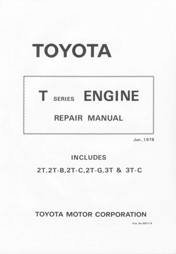 1978 Toyota T Series Engine Repair Manual Pdf  60 5 Mb