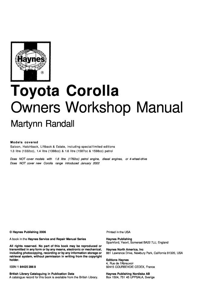 Toyota Corolla Service 33 MB